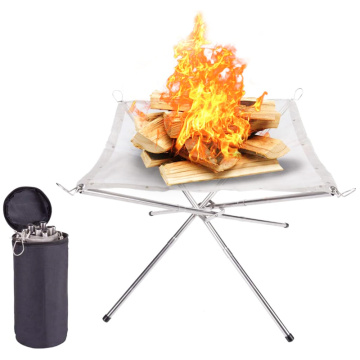 Outdoor Camping Burning Frame Stainless Steel Folding Bonfire Frame Grill Firewood Stove Platform Charcoal Heating Furnace
