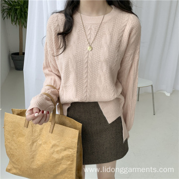 Soft wind loose Korean sweater long sleeve Wool Women's top