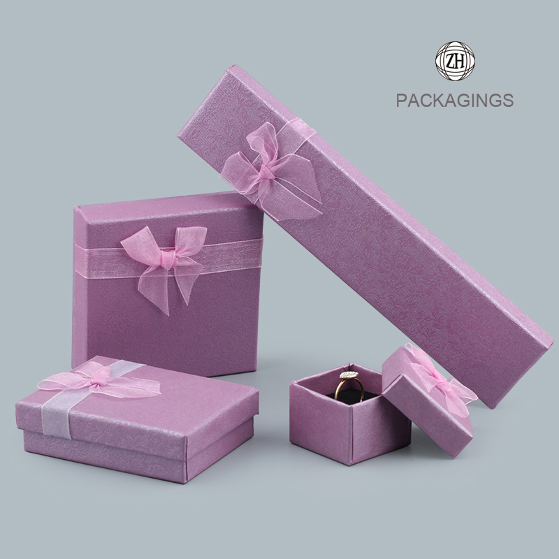 Purple custom jewelry packaging box custom logo