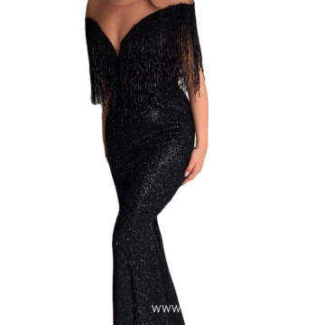 Sexy Lady Black Long Shoulder Off Mermaid Dress