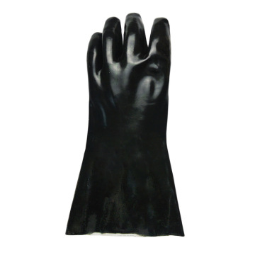 Black PVC flannelette gloves with smooth finish 30cm