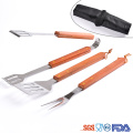 four pieces bbq tools with Plaid gloves