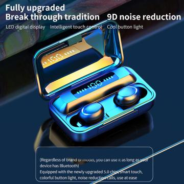 Dropshipping phone accessories Wireless Earphones F9-5C TWS Digital Bluetooth 5.0 Wireless 9D Stereo Sound Earphones for Phones