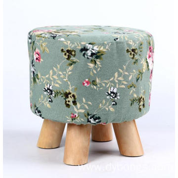 Fabric Cushioned Small Round Stools Low Footstool Wooden Designed