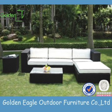 Mobilje kopshtesh Outdoor PE Rattan Sofa Set Black