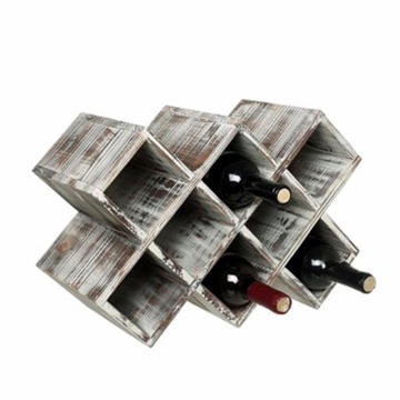 Rustic Torched Wood Wine Rack, Geometric Design 8-Bottle Storage Organizer