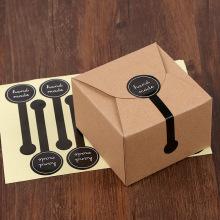 """100PCS Adhesive Long Style """"HAND MADE"""" Black Handmade Cake Packaging Sealing Label Kraft Sticker Baking DIY Gift Stickers"""