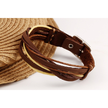Custom Leather Bracelets Simple Weaved Real Leather Bangle
