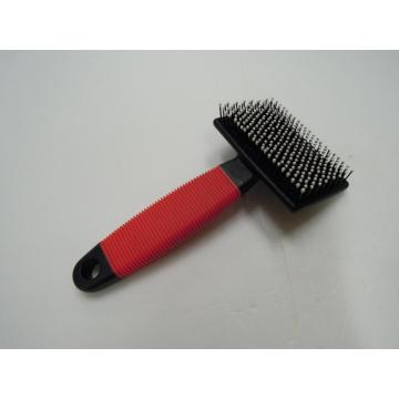 Rubber Grip T Shape Plastic Cat Slicker Brush