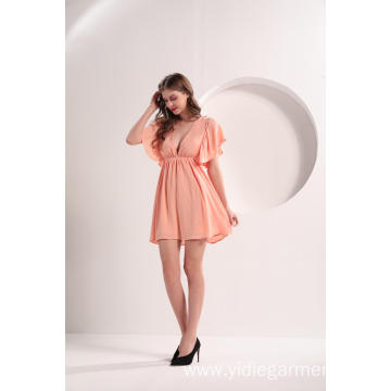 Women's Crepe Butterfly Peach Color Dress