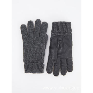 Acrylic knitting womens glove with leather palm
