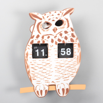 Owl Flip Wall Clock with Pendulum