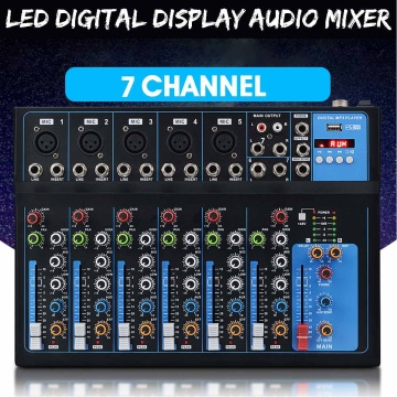 LEORY Professional 7 Channel Bluetooth Digital Microphone Sound Mixer Console Karaoke Players Audio Mixer Amplifier With USB