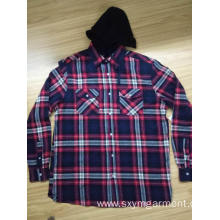 Mens cotton yd flannel  shirt with hood