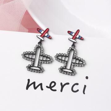 Hello Miss Cartoon Rhinestone Airplane Pendant Earrings Create Fashion Punk Stud Earrings Fashion Women's Earrings Jewelry