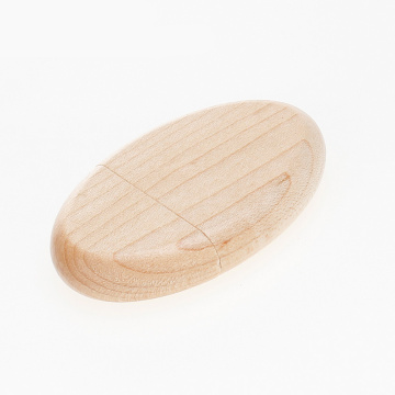 Natural Oval Wooden USB Flash Memory Drive