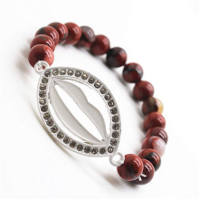 Red Jasper 8MM Round Beads Stretch Gemstone Bracelet with Diamante Lip Piece