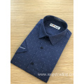 Navy blue print male stand-up collar shirt