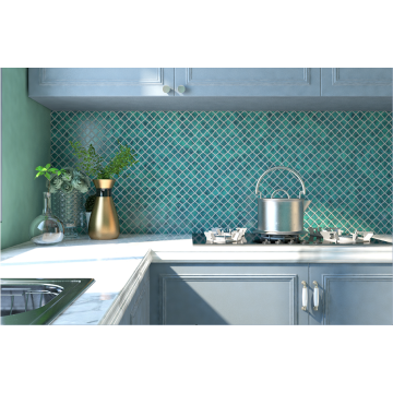 Green Glass Mosaic Tiles For Kitchen Wall Design