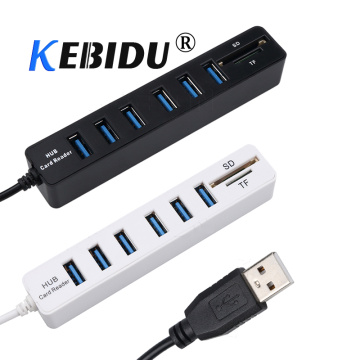 kebidu Hot USB Hub Combo 6 Ports USB 2.0 Hub 2 In 1 Splitter Multi USB Combo + SD/TF Card Reader For PC Laptop Computer