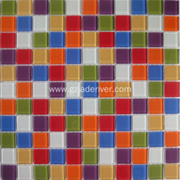 Rainbow Color Mixed Crystal Glass Mosaic Tiles