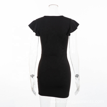 Sexy Deep V-neck Mini Solid Color Female Dress