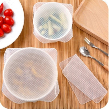 Kitchen Accessories 3Pc Kitchen Gadget Silicone Fruit Wraps Seal Cover Stretch Cling Film Fruit Food Fresh Keep for Kitchen-S