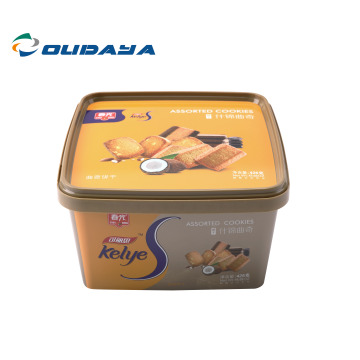 Eco friendly rectangle bucket biscuit cookie with lid