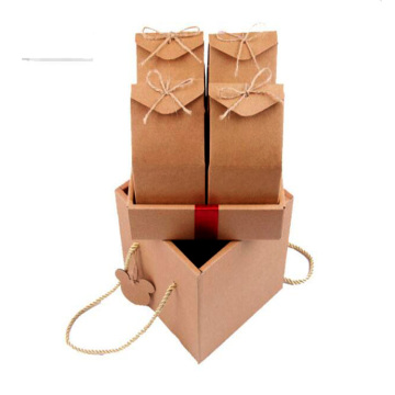 Kraft paper gift folding box with string