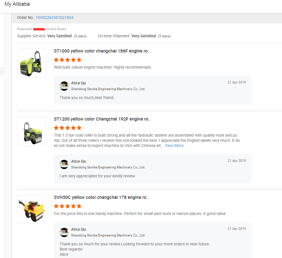 Customer Feedback Of Road Roller