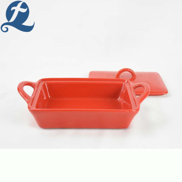 Factory Direct Selling Ceramic Square Baking Dishes Solid Color Bakeware Set