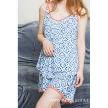 Flower print viscose pajama short set for summer