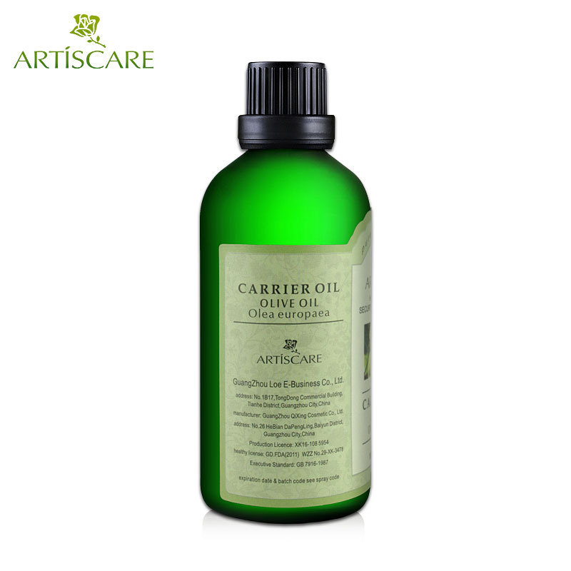 ARTISCARE 100% Natural Olive Base Oil 100ml for Dry Skin Moisturizer Anti-Aging and Anti Wrinkle Olive Carrier Oil Body Massage
