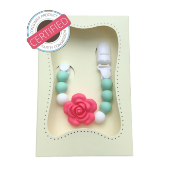 BPA Free Rose Beads Silicone Teething Pacifier Clips