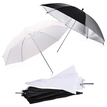 New 2pcs 33inch 83cm Flash Translucent White Soft Umbrella Photo Studio Accessories and 2pcs 33inch Black Silver Color Umbrella
