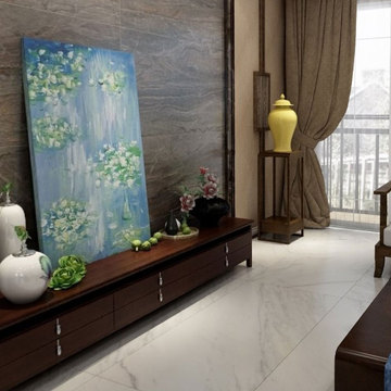 Large format marble effect wall tiles