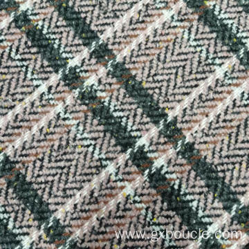 Woolen Boucle Style checked design fabric