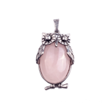 Charm Rose Quartz Owl Pendant Alloy Pendant Necklace Making for Decoration Accessory