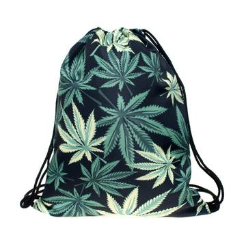 GREEN LEAF DRAWSTRING BAG-0