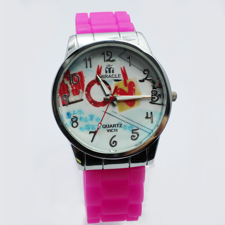 Fashion Girls Silicone Love Wristband Watches
