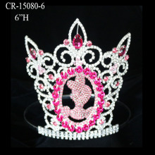Custom Rhinestone Pink Cinderella Pageant Crown