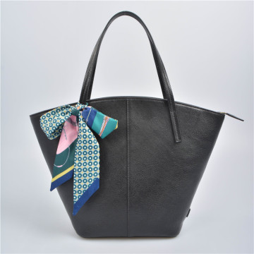 Black tote bag with long handles