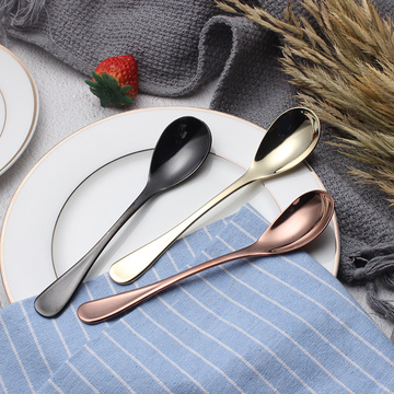 304 Stainless Steel Tableware Gold Ice Cream Spoon