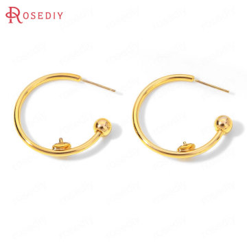 (35931)6PCS 30x29MM 24K Gold Color Brass with Half Pin Round Earrings Loop Stud Earrings High Quality Diy Jewelry Accessories