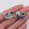 WYSIWYG 4pcs Jewelry Diy Handmade Craft Charms Antique Silver Color 24x29mm Goldfish Connector Accessories