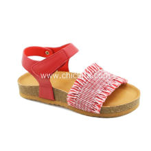 Red Striped Canvas Sandals Shoes For Girls
