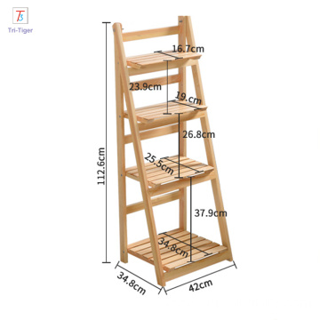 Wood ladder flower pot balcony frame flower plant folding flower shelf