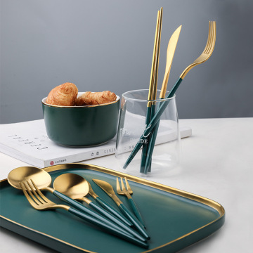 High Quality Portugal Black Green Handle Flatware Set