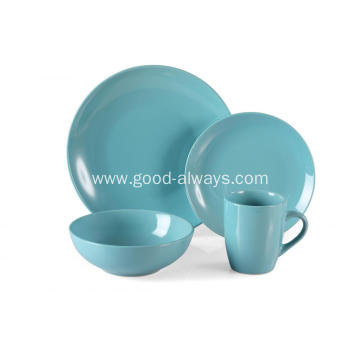 16 Piece Stoneware Dinner Set Teal Color