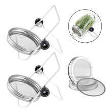 4Pcs Stainless Steel Sprouting Jar Lids with 2 Stands for Wide Mouth Sprout Jars T8WB